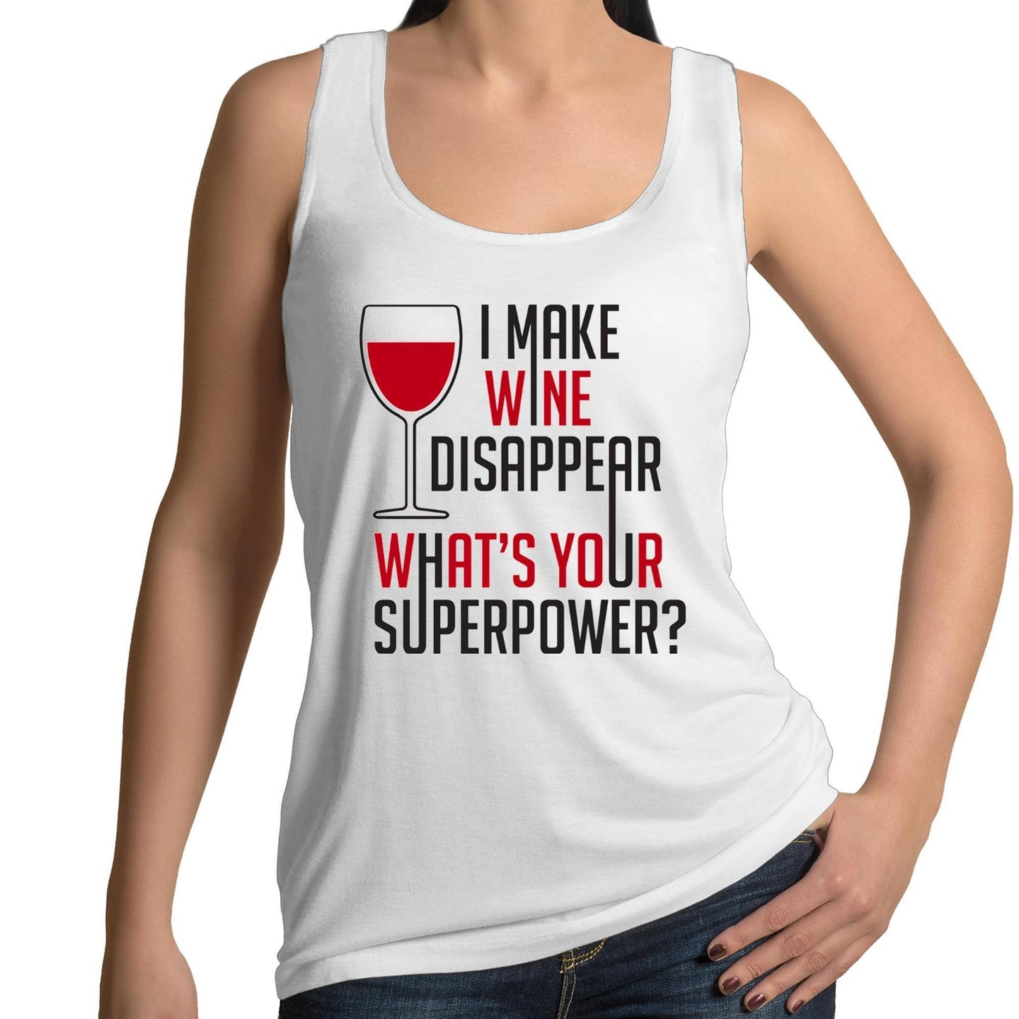 Wine Superhero - Womens Singlet 8-16