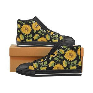 SUNFLOWERS BLACK High Top Canvas Kid's Shoes