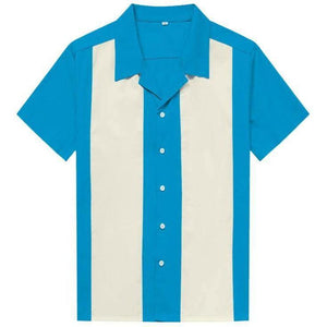 Mens Vintage Style Bowling Dress Shirt - BLUE/IVORY
