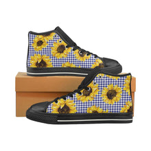 Load image into Gallery viewer, SUNFLOWERS GINGHAM High Top Canvas Kid's Shoes B
