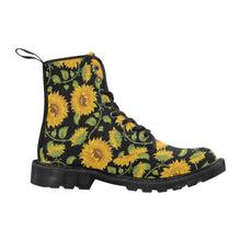 Load image into Gallery viewer, SUNFLOWERS BLACK Women's Lace Up Canvas Boots B