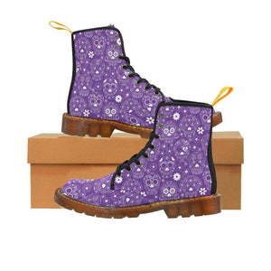 PURPLE SUGAR SKULLS Women's Lace Up Combat Boots