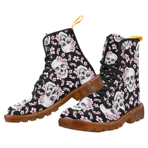 Cherry Blossom Skulls Women's Lace Up Combat Boots