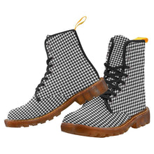 Load image into Gallery viewer, Houndstooth Check Women's Lace Up Combat Boots