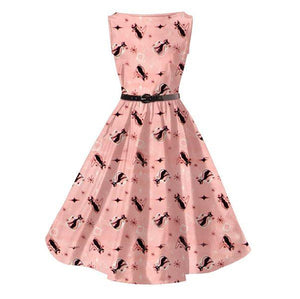 ATOMIC RETRO KITTY PINK  ROCKABILLY DRESS