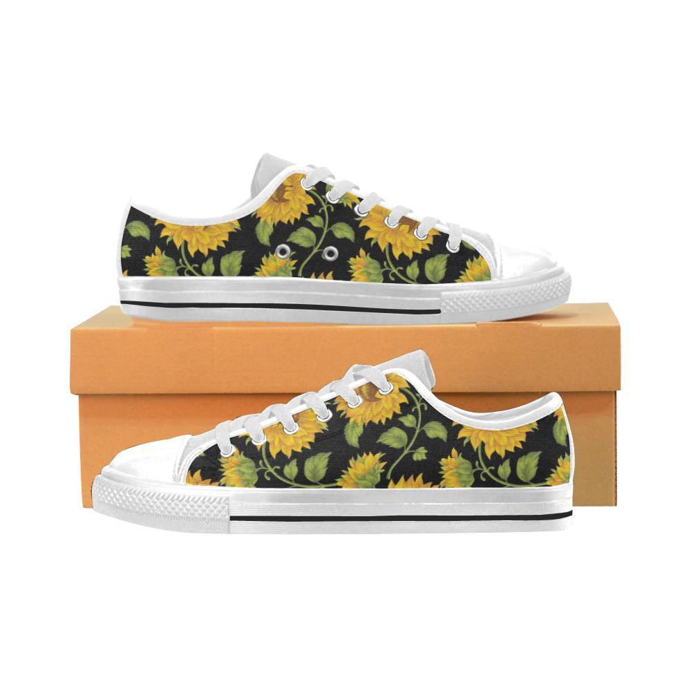 SUNFLOWERS BLACK Kid's Canvas Sneakers