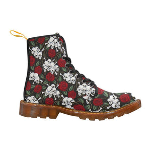 Mini Skulls & Roses Women's Lace Up Combat Boots