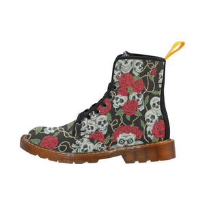 Rose Skulls Women's Lace Up Combat Boots