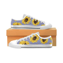 Load image into Gallery viewer, SUNFLOWERS GINGHAM Kid's Canvas Sneakers