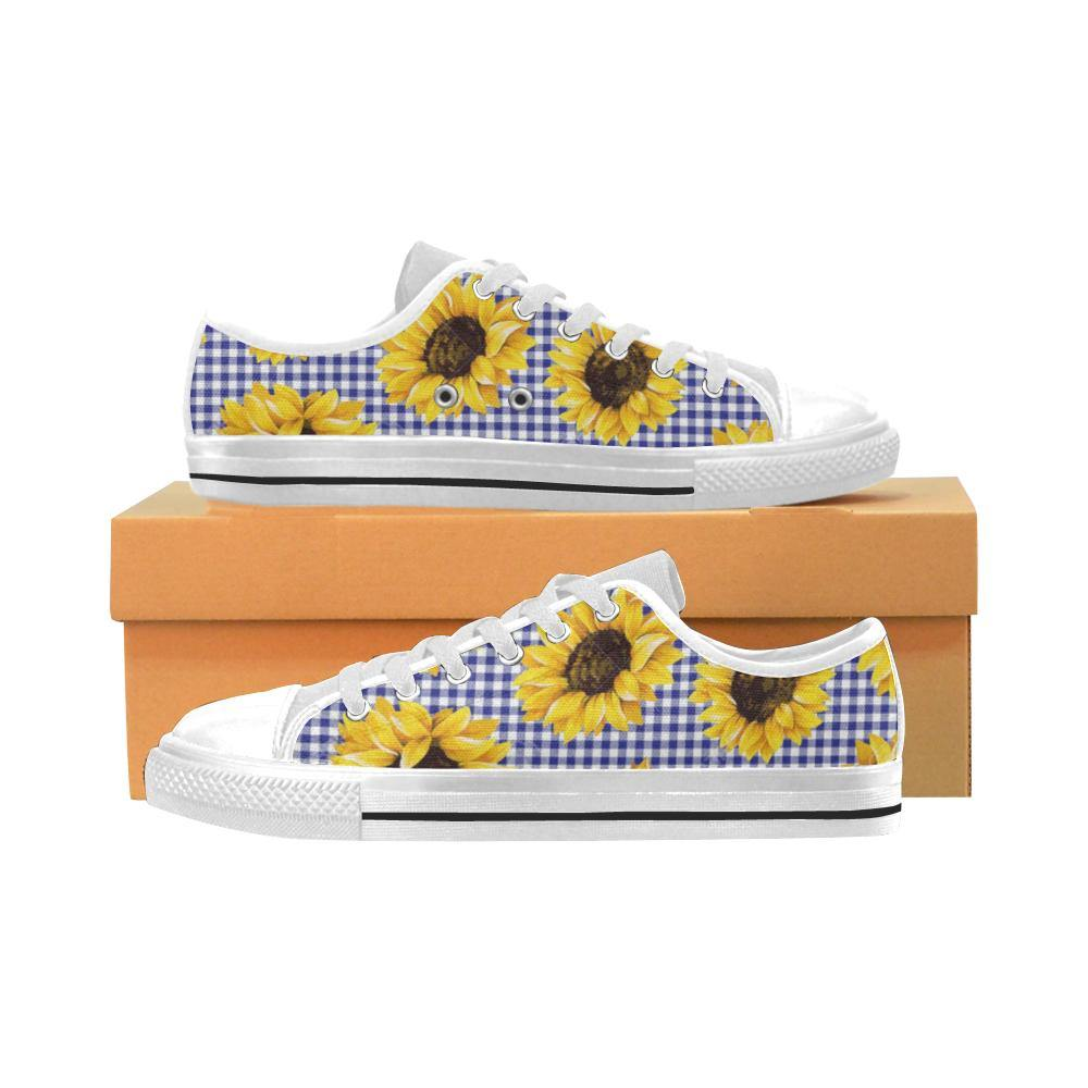 SUNFLOWERS GINGHAM Kid's Canvas Sneakers