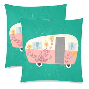 "RETRO VAN Throw Pillow Cover 18""x 18"" (Twin Sides) (Set of 2)"
