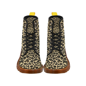 Leopard Print Women's Lace Up Combat Boots