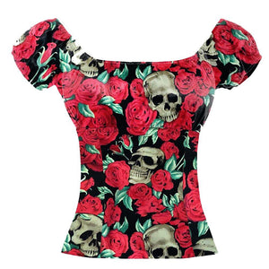 SKULLS AND ROSES PEASANT STYLE TOP