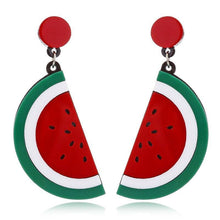 Load image into Gallery viewer, WATERMELON Acrylic Drop/Dangle Stud Post Earrings