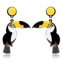 Load image into Gallery viewer, TOUCANS Acrylic Drop/Dangle Stud Post Earrings