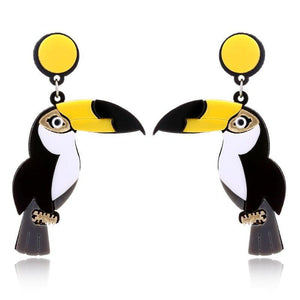 TOUCANS Acrylic Drop/Dangle Stud Post Earrings