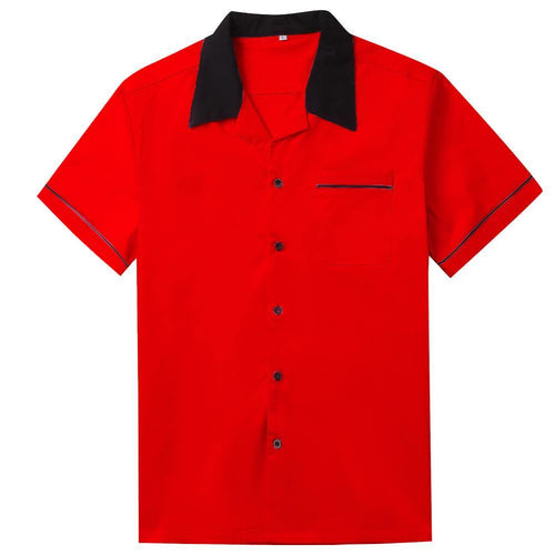 Mens Vintage Style Bowling Dress Shirt - RED
