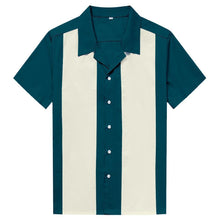Load image into Gallery viewer, Mens Vintage Style Bowling Dress Shirt - TEAL/IVORY