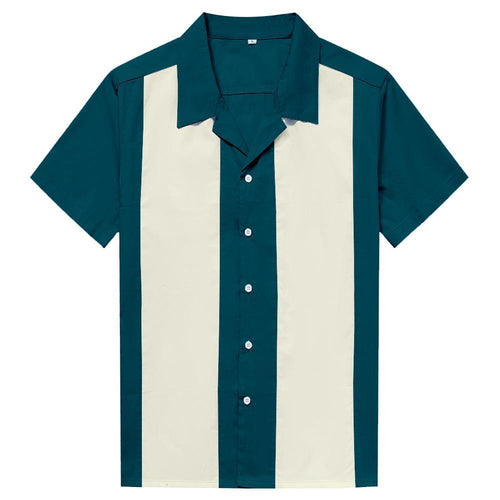 Mens Vintage Style Bowling Dress Shirt - TEAL/IVORY