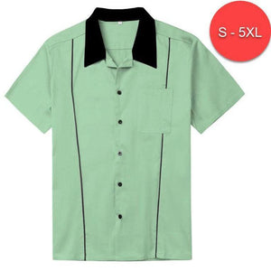 MENS ROCKABILLY BOWLING SHIRT MINT GREEN PLUS SIZE UP TO 5XL