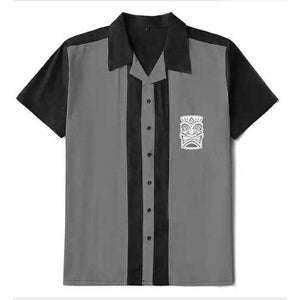 Mens Vintage Style Bowling Dress Shirt - TIKI GREY