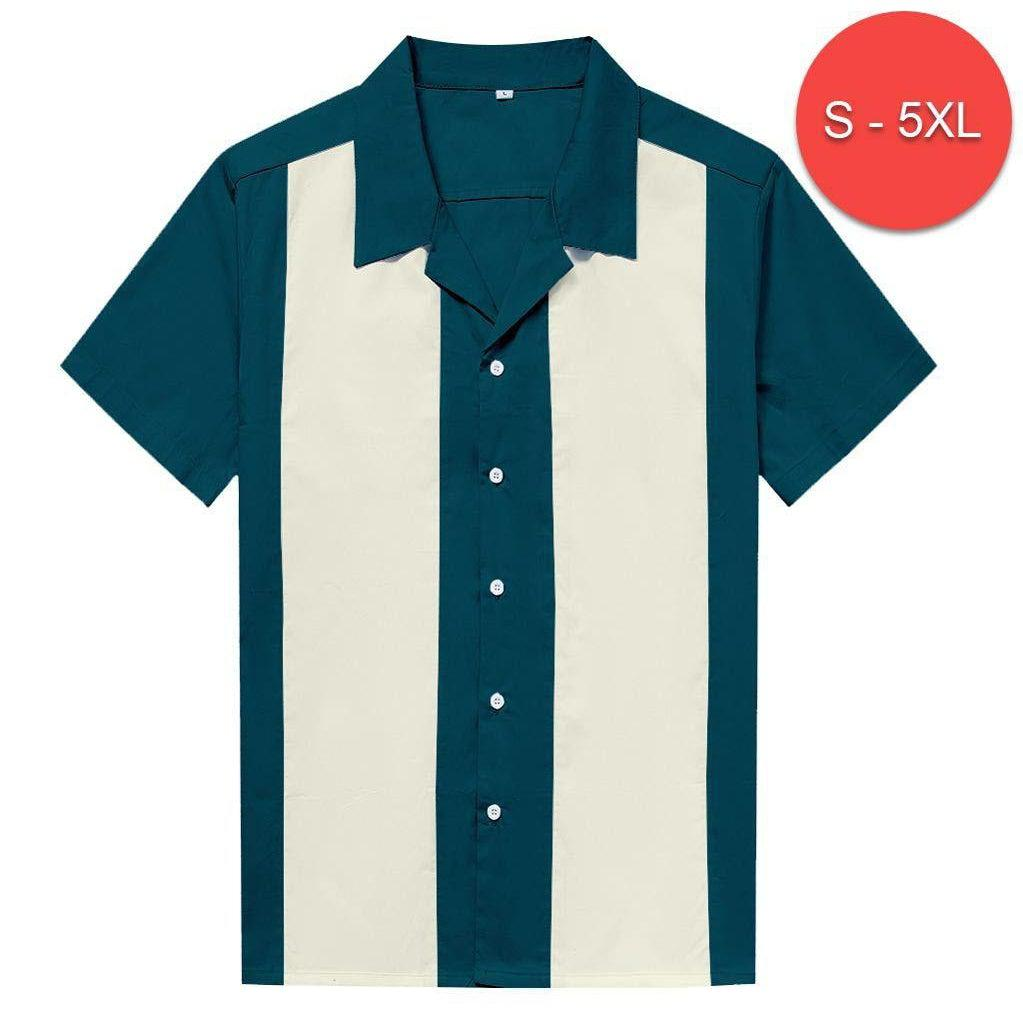TEAL RETRO VINTAGE STYLE BOWLING SHIRT UP TO 5XL
