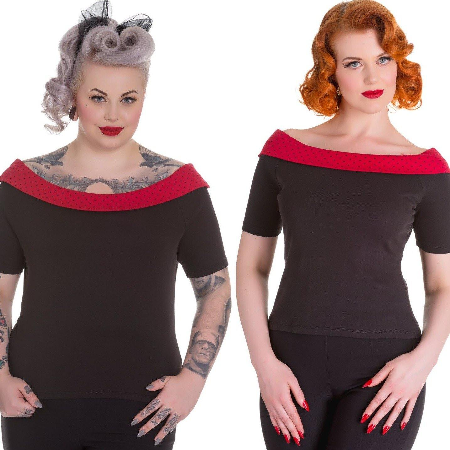 HELL BUNNY CHLOE TOP BLACK AND RED XS to 4XL