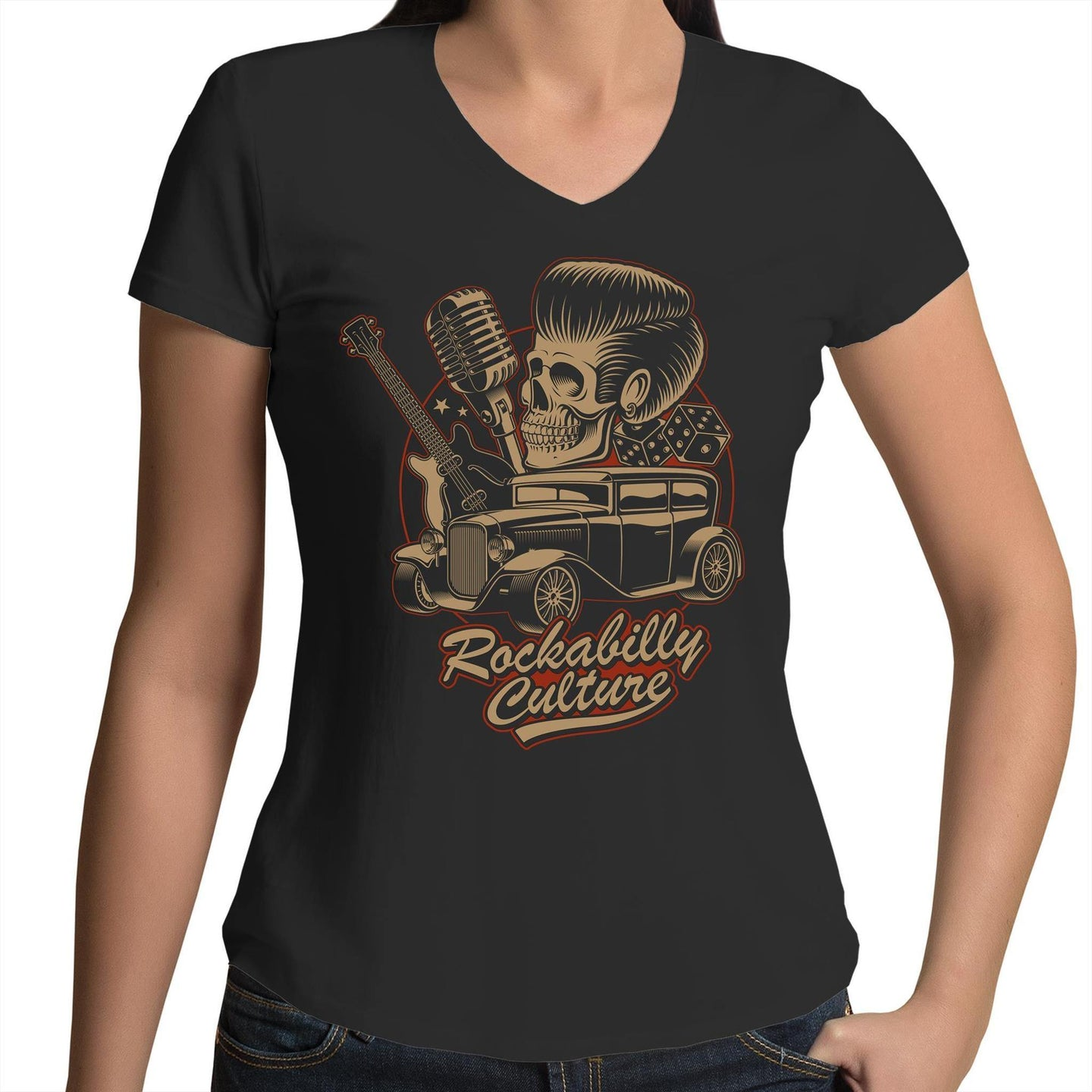 ROCKABILLY CULTURE - Womens V-Neck T-Shirt 8-16