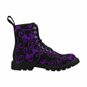 Antique Bats Purple Lace Up Combat Boots
