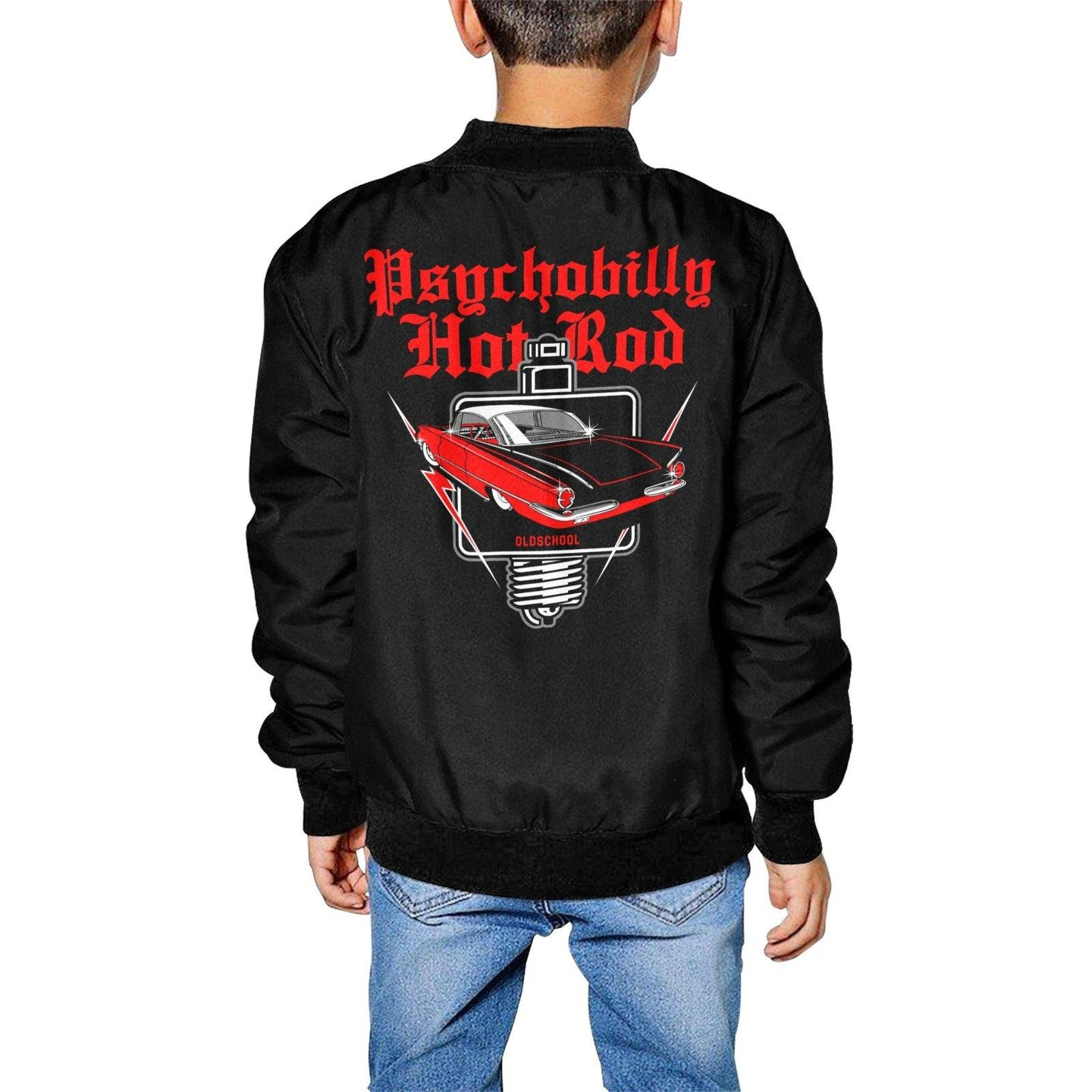 PSYCHOBILLY HOTROD Kid's Hot Rod Print Bomber Jacket XS-XL