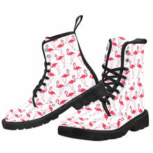 Load image into Gallery viewer, Pink Flamingos Lace Up Combat Boots