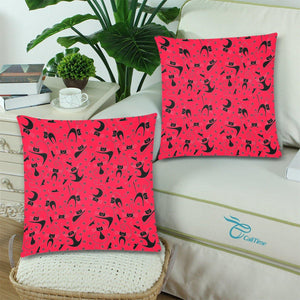 "CAT & MOUSE RED Throw Pillow Cover 18""x 18"" (Twin Sides) (Set of 2)"