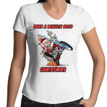 Load image into Gallery viewer, HAVE A WHEELIE GOOD CHRISTMAS - Womens V-Neck T-Shirt 8-16