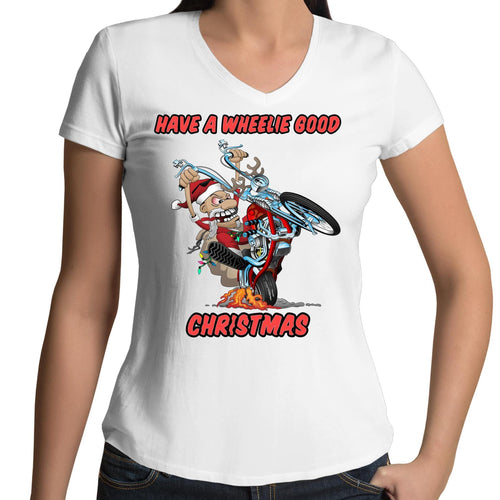 HAVE A WHEELIE GOOD CHRISTMAS - Womens V-Neck T-Shirt
