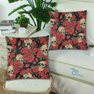 "SKULLS & ROSES Throw Pillow Cover 18""x 18"" (Twin Sides) (Set of 2)"