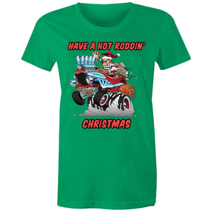 HOT RODDIN' CHRISTMAS TSHIRT - Womens T-shirt 8-20