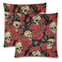 "Load image into Gallery viewer, SKULLS & ROSES Throw Pillow Cover 18""x 18"" (Twin Sides) (Set of 2)"