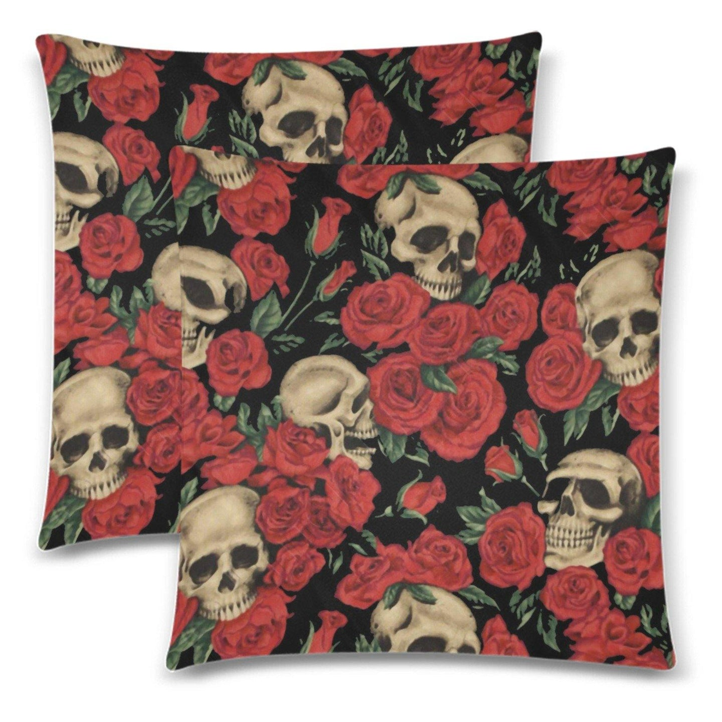 SKULLS & ROSES Throw Pillow Cover 18