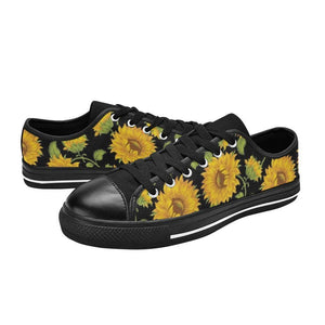 SUNFLOWERS BLACK Retro Style Sneakers