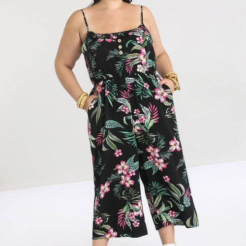HELL BUNNY KALANI JUMPSUIT BLACK | POISON ARROW RETRO