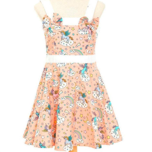 Peach Unicorns Girl's Rockabilly Dresses Sizes 2-12