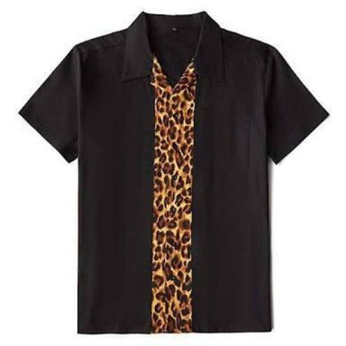 Mens Vintage Style Bowling Dress Shirt - Leopard