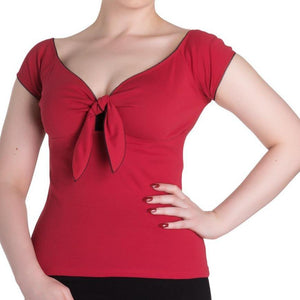 HELL BUNNY BARDOT TOP Red