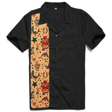 Load image into Gallery viewer, mens rockabilly tattoo flash button up shirt