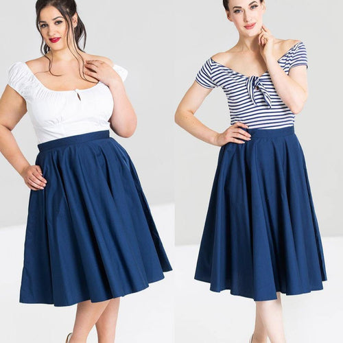 HELL BUNNY PAULA NAVY BLUE CIRCLE SKIRT (XS to 4XL)
