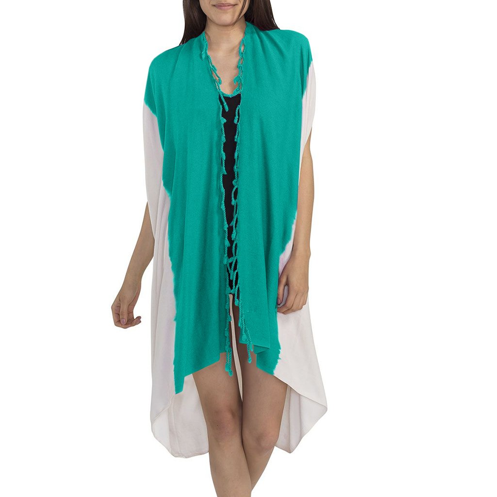 disndatmarket,Teal Dip Dye Turkish Kimono,disNdatmarket,Women - Apparel - Swimwear - Cover Ups