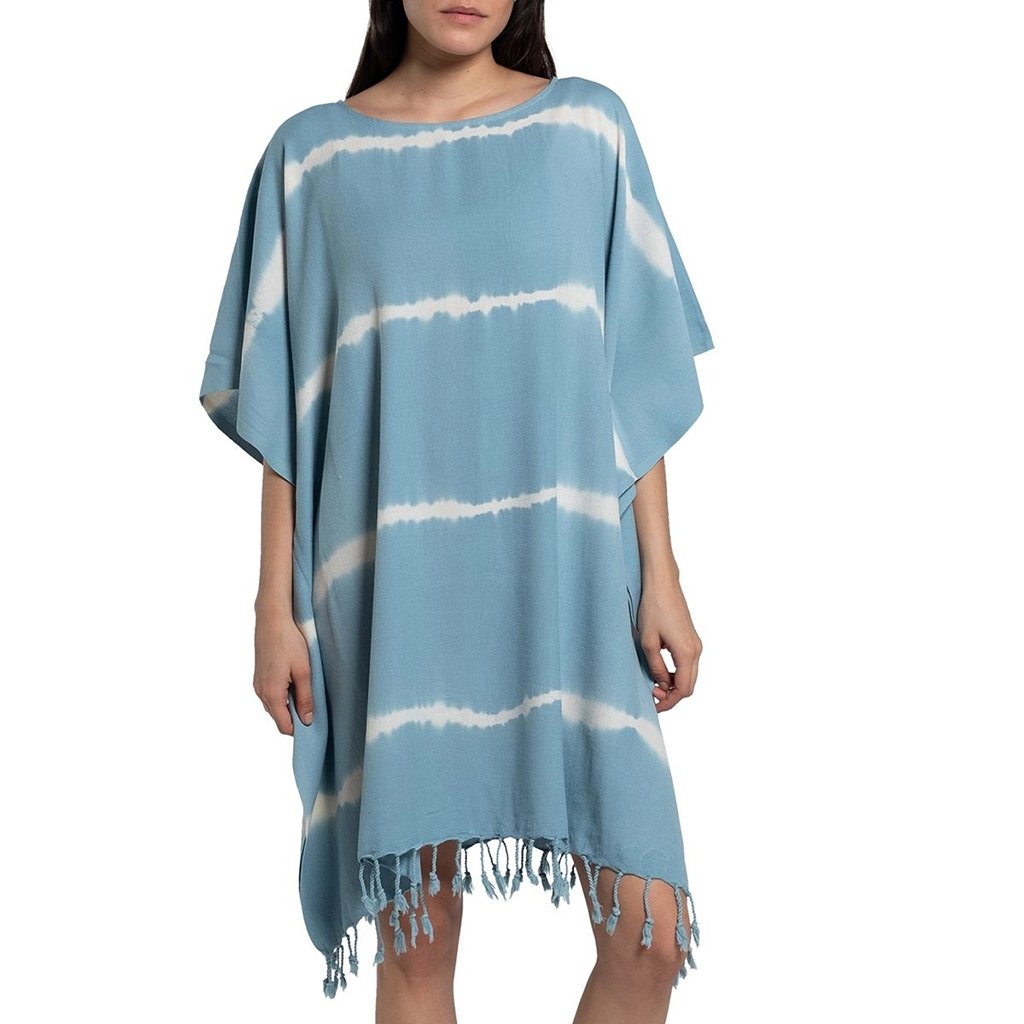 disndatmarket,Sky Blue Tie Dye Turkish Tunic,disNdatmarket,Women - Apparel - Swimwear - Cover Ups