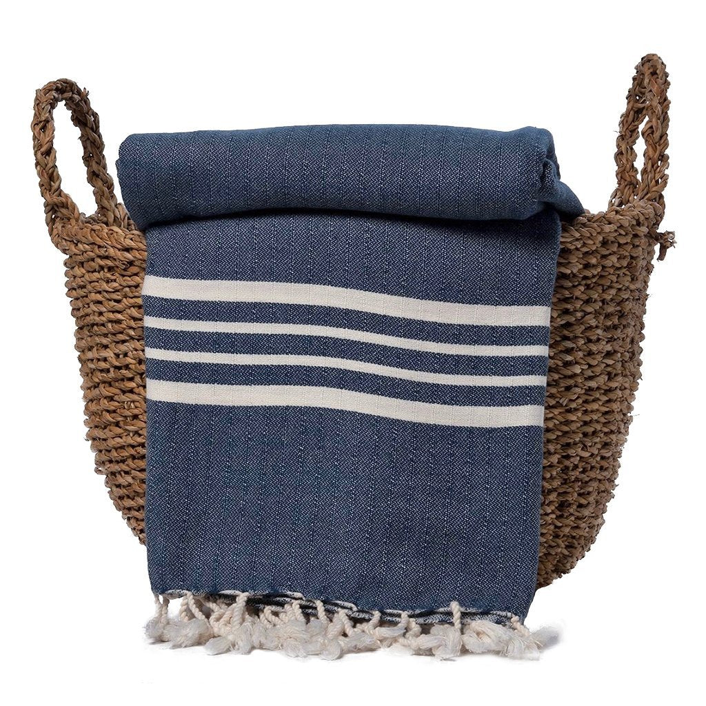 disndatmarket,Navy Nautical Stripe Turkish Throw,disNdatmarket,Home - Pillows & Throws
