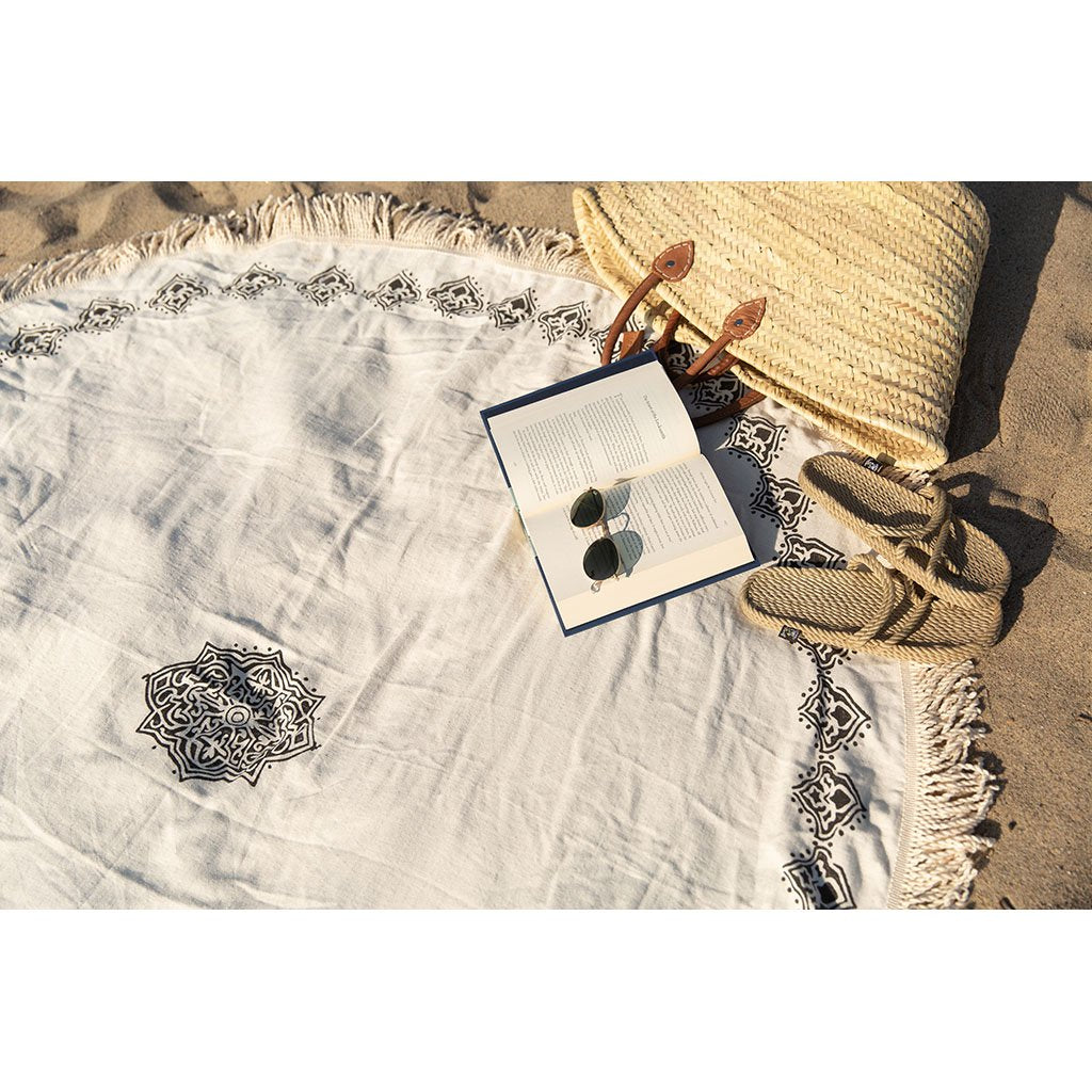 disndatmarket,Black Block Print Roundie Beach Blanket,disNdatmarket,Home - Pillows & Throws
