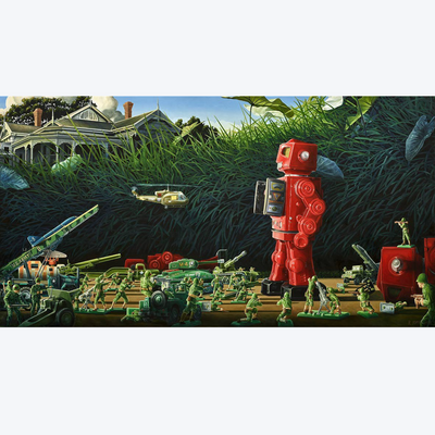 Boyd-Dunlop Gallery Napier Hawkes Bay Ross Jones Limited Edition Prints Landscape Surrealism Realism Oil Painting Scenic Artist Robot Army Men